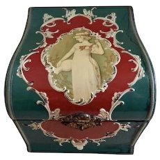 Victorian Celluloid Gentlemen's Collar Box w/Portrait & Scroll Motif