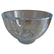 Orrefors Glassworks Mid-Century Engraved Crystal Candy/Nut Bowl