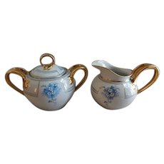 J. H. Stouffer Studio Hand Painted Sugar & Creamer w/Forget-Me-Not Blossoms Motif