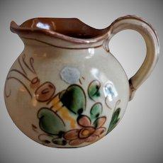 Gabriel Mid-Century Pottery Pitcher w/Floral & Motto Motif