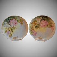 Samuel Sherratt Studio Pair Hand Painted Plates w/Pink & White Rose Motif