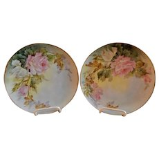 Samuel Sherratt Studio Pair Hand Painted Plates w/Pink & White Rose Motif
