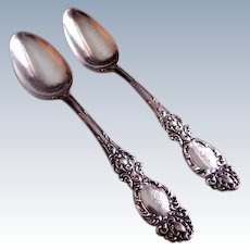"R Wallace & Sons Sterling Silver ""Lucerne"" Pattern Five O'Clock Spoons - Pair"