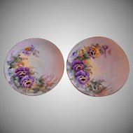 Samuel Sherratt Studio Pair Hand Painted Plates w/Purple & Yellow Pansy Motif