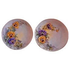 Samuel Sherratt Studio Pair Hand Painted Plates w/Yellow & Purple Pansy Motif