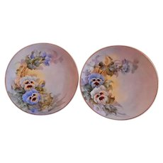 Samuel Sherratt Studio Pair Hand Painted Plates w/Blue & White Pansy Motif
