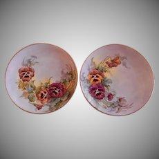 Samuel Sherratt Studio Pair Hand Painted Plates w/Red & Yellow Pansy Motif