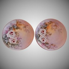 Samuel Sherratt Studio Pair Hand Painted Plates w/White Pansy Motif