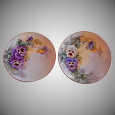 Samuel Sherratt Studio Pair Hand Painted Plates w/White, Blue & Purple Pansy Motif