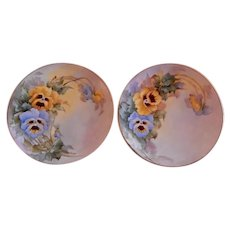 Samuel Sherratt Studio Pair Hand Painted Plates w/Blue & Yellow Pansy Motif