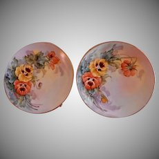 Samuel Sherratt Studio Pair Hand Painted Plates w/Salmon & Yellow Pansy Motif