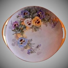 Samuel Sherratt Studio Pair Hand Painted Serving Plate w/Blue, Yellow, Purple & White Pansy Motif