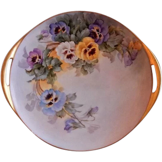 Samuel Sherratt Studio Hand Painted Serving Plate w/Blue, Yellow, Purple & White Pansy Motif