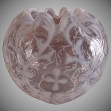 "Northwood Glass ""Spanish Lace"" Pattern Opalescent & Clear Rose Bowl"