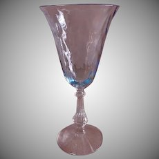 "Fostoria ""Blue Wavecrest"" Pattern Water Goblets - Set of 3"