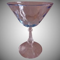"Fostoria ""Blue Wavecrest"" Pattern - Set of 4 Tall Sherbet/Champagnes"