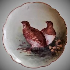 Lazeyras, Rosenfeld & Lehman (L R L) Limoges Bird Game Plate w/Two Birds