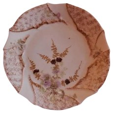 P.H. Leonard (PHL) Factory Decorated Floral Transfer & Encrusted Gold Cabinet Plate