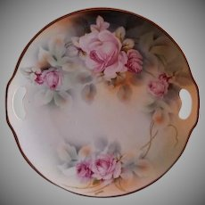 Prussia - Transfer Decorated Cake Plate w/Shaded Pink Rose Blossoms Motif