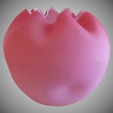 Pink Satin Glass Rose Bowl w/Four Dimples