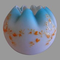Blue Satin Glass Rose Bowl w/Enameled Garland Decoration