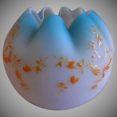 Blue Satin Glass Rose Bowl w/Enameled Garland Decoration