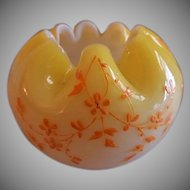 Miniature Yellow-to-white Cased Glass Rose Bowl w/Enameled Floral Motif