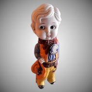"""Jackie Cooper """"Our Gang"""" Bisque Figurine & Original Pin Back"""