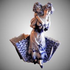 "German Delft ""Lady with Child"" Figural Planter/Vase - Signed ""Neth"""