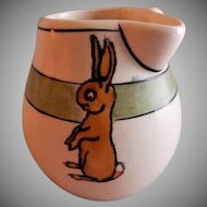 "Roseville Pottery ""Juvenile Line"" Rabbits Side-Handle Cream Pitcher"