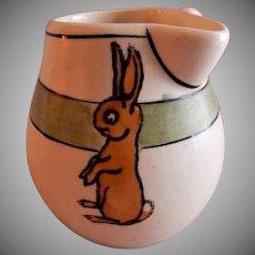 "Roseville Pottery ""Juvenile Line"" Rabbits Side-Handle Cream Pitcher"