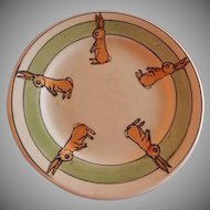 "Roseville Pottery ""Juvenile Line"" Rabbits Baby Plate"