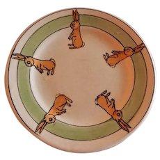 "Roseville Pottery ""Juvenile Line"" Rabbits Baby Plate"