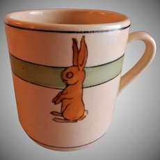 "Roseville Pottery ""Juvenile Line"" Rabbits Baby Mug"