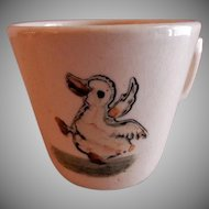 "Weller Pottery ""Zona-Juvenile"" Dancing Duck Baby Mug"