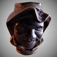 """A C Williams """"Two Faced"""" Black Americana C. I. Coin Bank"""