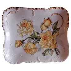 Charles Haviland Hand Painted Dresser/Serving Tray w/Yellow Roses Motif