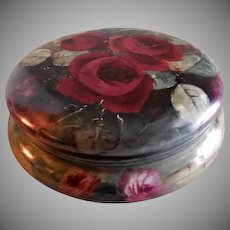 Limoges France Hand Painted Dresser/Jewelry Box w/Crimson Rose Blossoms Motif