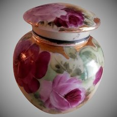 Porcelain Hand Painted Tea/Ginger Caddy w/Red & Pink Roses Motif
