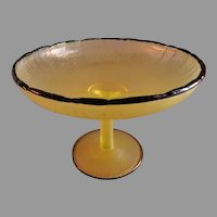 "Tiffin Vaseline ""Stretched Glass"" Stemmed Tazza w/Black Trim"