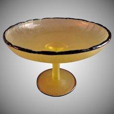 "Tiffin Vaseline ""Stretched Glass"" Stemmed Tazza w/Black Trim"