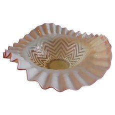 "Northwood Canary Opalescent ""Herringbone"" Tri-Crimp Bowl w/Cranberry Frit Edge"