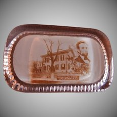 Lincoln's Home, Springfield, IL Souvenir Heavy Glass Rectangular Paperweight