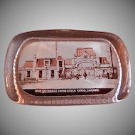 Union Stock Yards, Chicago, IL Souvenir Heavy Glass Rectangular Paperweight