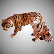 Bengal Tigers (Pr) Porcelain Figurines - Western Germany