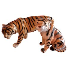 Bengal Tigers (Pr) Porcelain Figurines - Western Germany