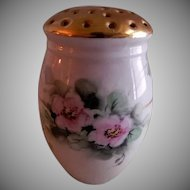 Porcelain Hand Painted, Signed, Sugar Shaker/Muffineer w/Wild Roses Floral Motif