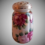 Porcelain Hand Painted Sugar Shaker/Muffineer w/Pink & Red Roses Motif