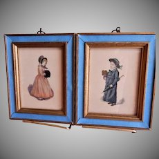 Victorian-Style Pair of Prints Depicting a Young Girl and Boy