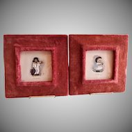Little Britain Series - Pair Hand Tinted Color Engravings - Victoria & Samson